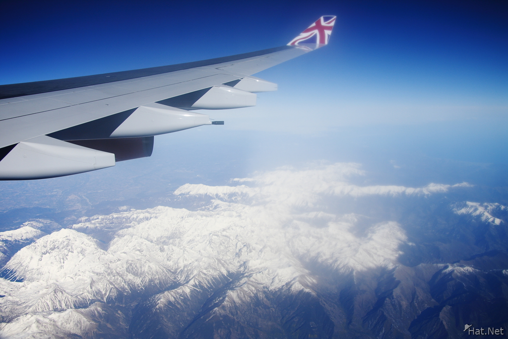 british airline wing over french alps