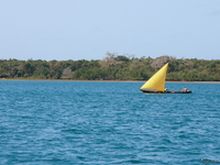 yellow yatch of shimoni beach Shimoni, East Africa, Kenya, Africa