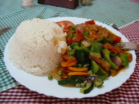 food--egg plant lunch at tumani hotel Lushoto, East Africa, Tanzania, Africa