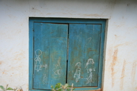 blue painted windows Lushoto, East Africa, Tanzania, Africa