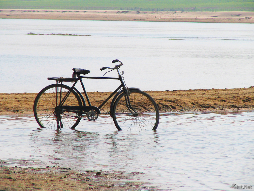 bicycle in chambal river