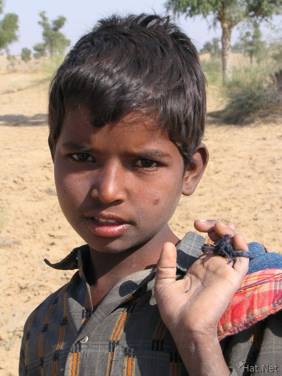 goatherd boy in the thar desert of bikaner