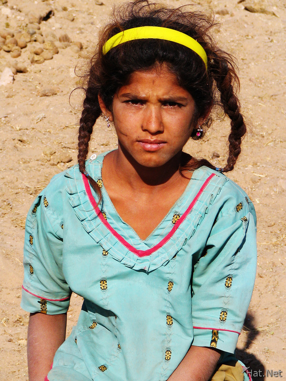 girl in indigo dress from jaisalmer desert