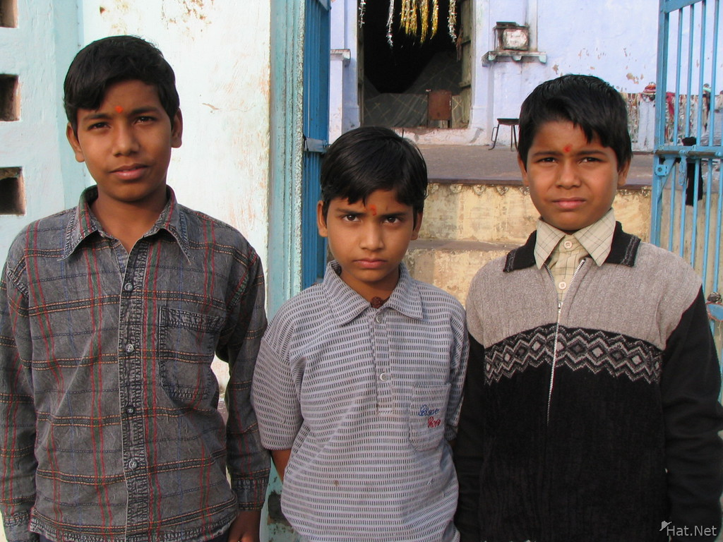 three indian kids near ganesha temple