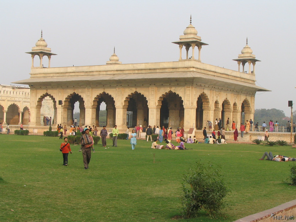 green lawn in red fort