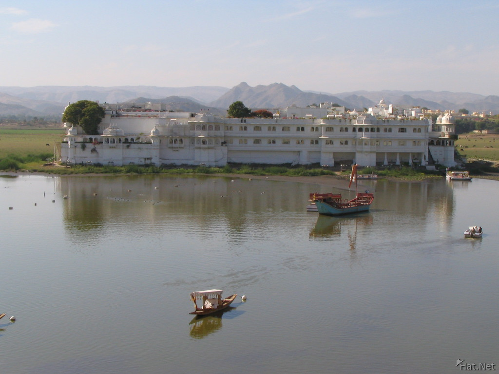 lake palace and boats