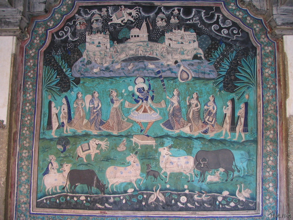 wall painting of cows and dancers and shiva