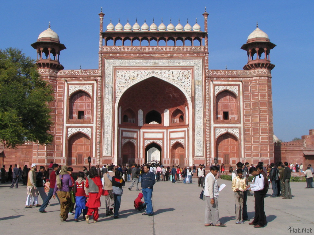 red sandstone gate to taj mahal