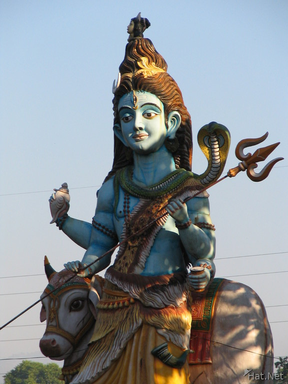 shiva with trident riding on nandi