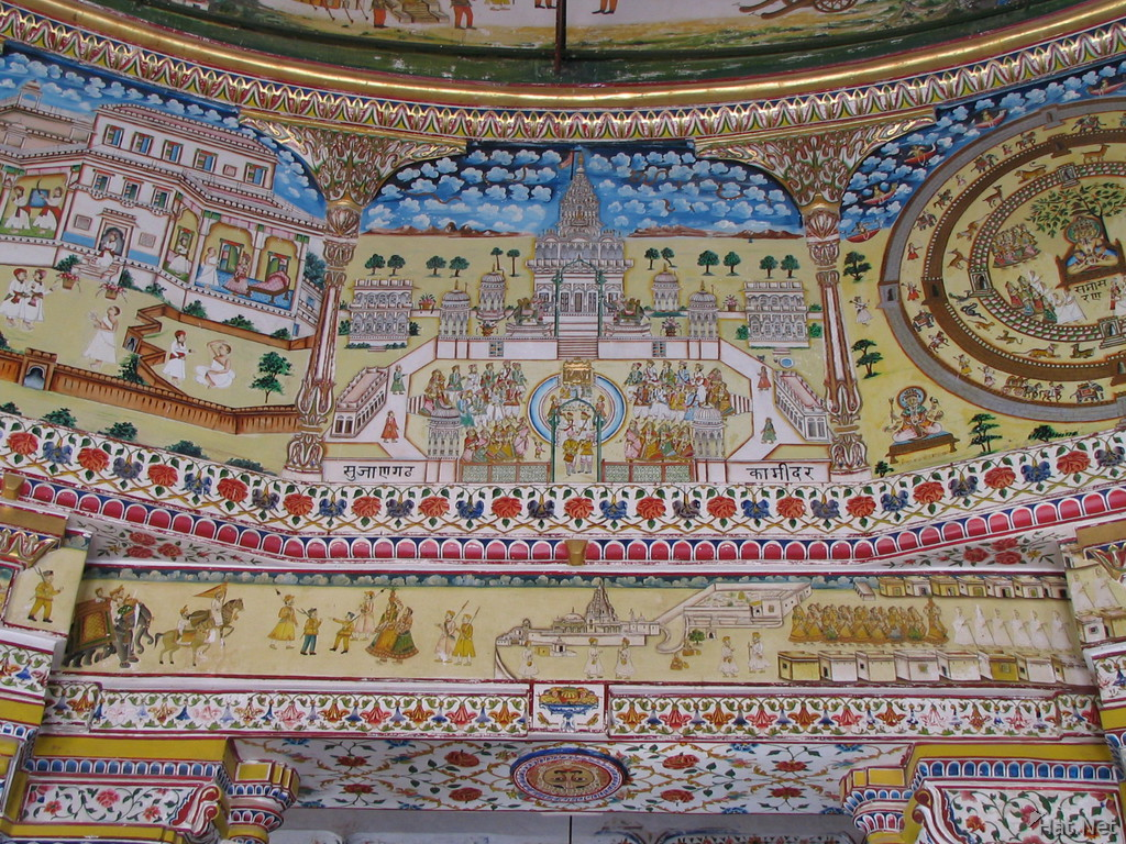 indian temple on wall painting