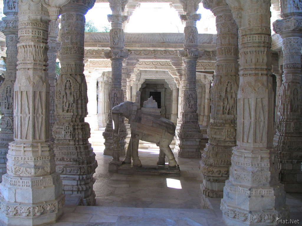 white marble elephant in jain temple