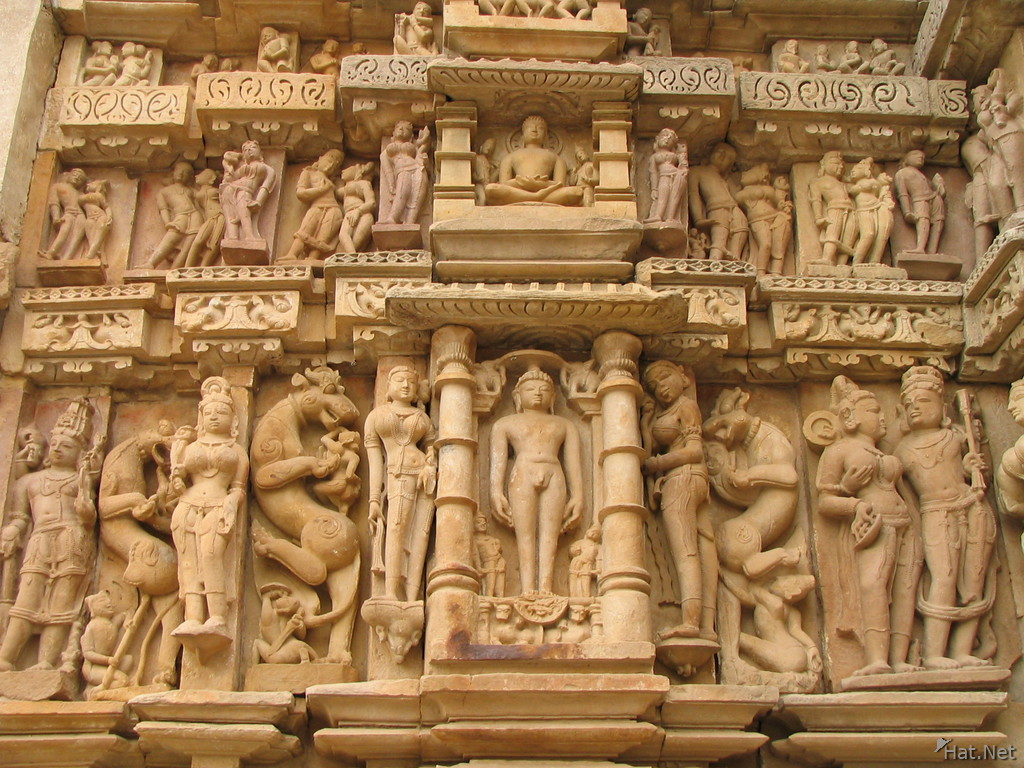 restored sculptures on parsvanatha temple
