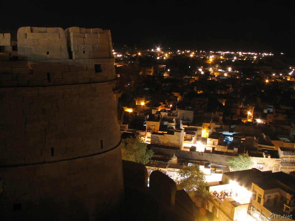 fort tower at night