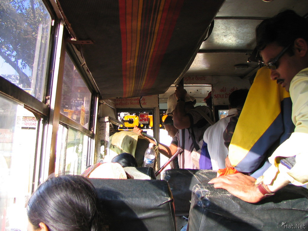 crowded bus leaving kanha