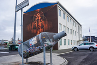 Reykjavik recycling and goddess mural Old West Side,  Reykjavík,  Capital Region,  Iceland, Europe