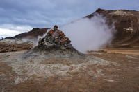 Hverir geyser aukery,  Northeast,  Iceland, Europe