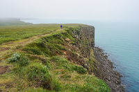 Husavik cliff side lonesome man Eglisstadir,  Northeast,  Iceland, Europe