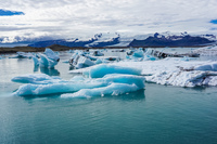 Jokulsarlon Glacier floating ice Snafellsjokull,  East,  Iceland, Europe