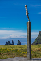 Vikurfjara Black Sand Beach statue Vík,  South,  Iceland, Europe
