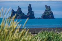 Vikurfjara Black Sand Beach rock formation Vík,  South,  Iceland, Europe