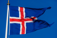 Logberg iceland flag Grundarfjordur,  South,  Iceland, Europe