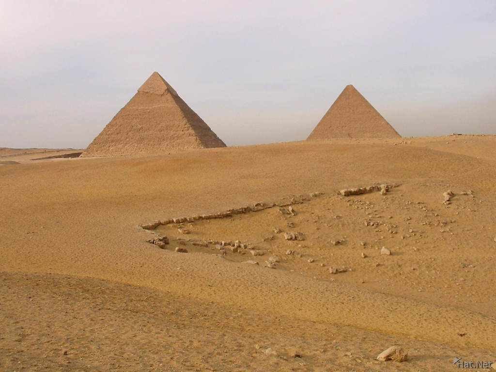 the two great pyramids from the desert