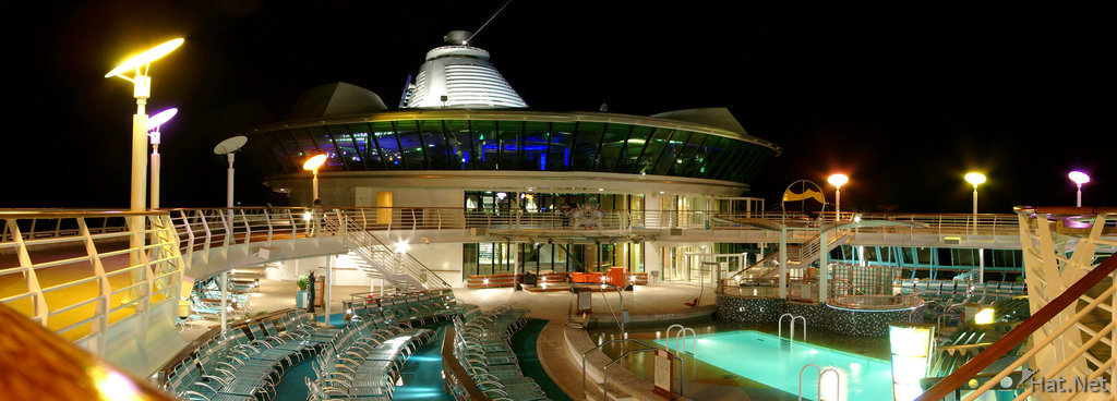 cruise pool at night