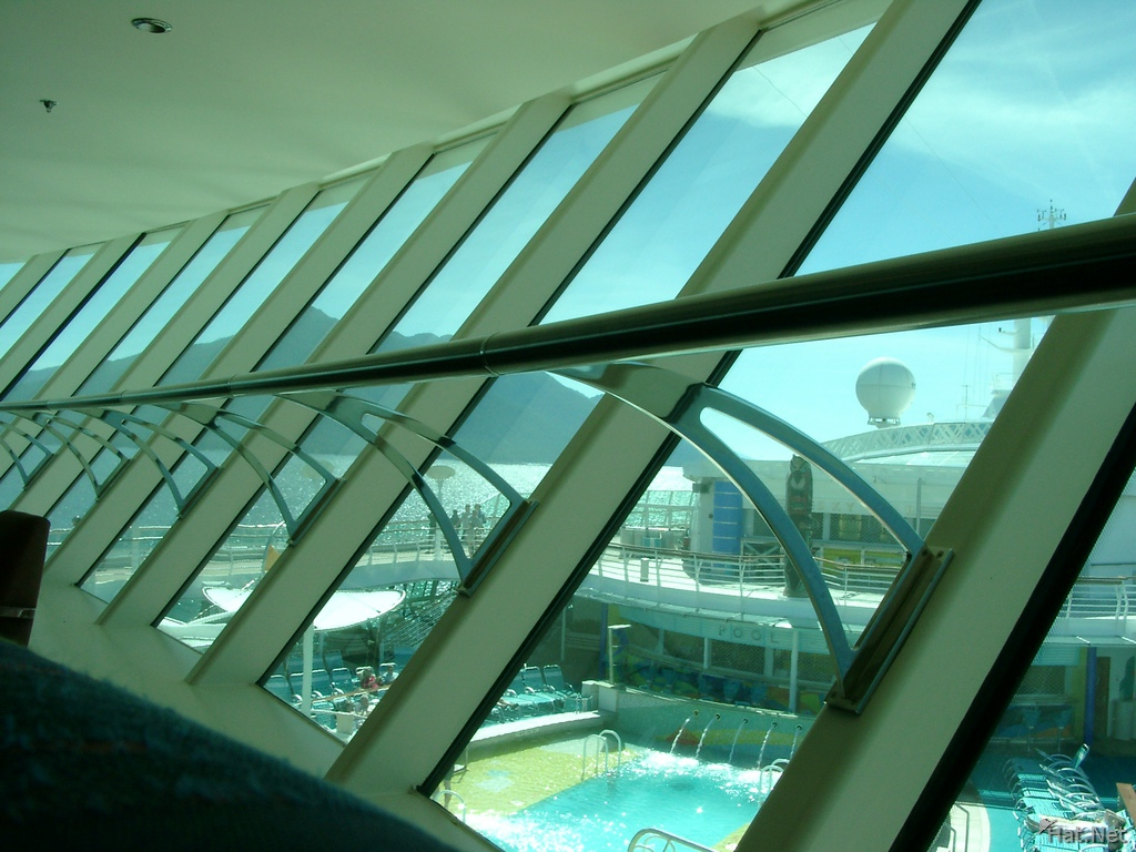 looking at the pool from the starquest bar