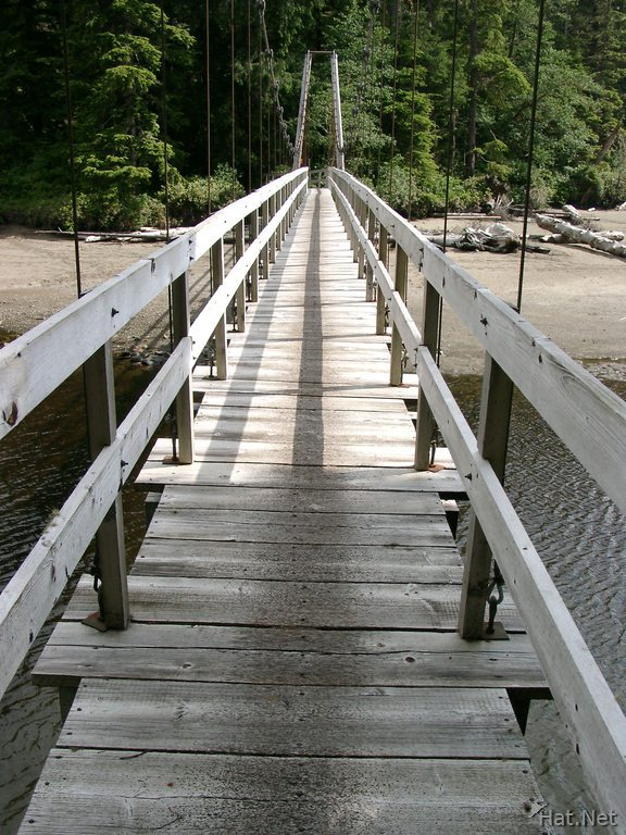 crossing suspension bridge at cheewat