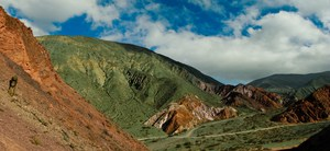 green rolling mountain Purmamarca, Northern Salta Provinces, Argentina, South America