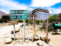 sign pointing to rock painting Cafayate, Jujuy and Salta Provinces, Argentina, South America