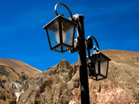 view--lamp post of iruya Tilcara, Iruya, Jujuy and Salta Provinces, Argentina, South America
