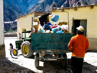 garbage collection in iruya Iruya, Humahuaca, Jujuy and Salta Provinces, Argentina, South America