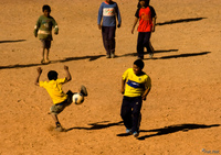 view--dancing with soccer Purmamarca, Northern Salta Provinces, Argentina, South America