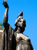 pigeon on statue head Salta, Cafayate, Jujuy and Salta Provinces, Argentina, South America