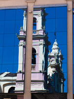 reflection of church tower Salta, Cafayate, Jujuy and Salta Provinces, Argentina, South America