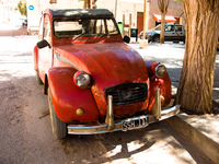 red antique car Tilcara, Jujuy and Salta Provinces, Argentina, South America