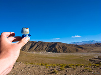hello kitty and mount polulos Tupiza, Potosi Department, Bolivia, South America