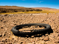 dead bicycle tire San Antonio, Potosi Department, Bolivia, South America