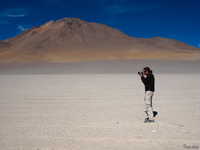 view--photographer at volcano licancabur San Antonio, Potosi Department, Bolivia, South America
