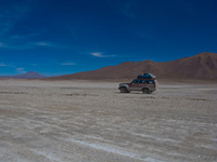 view--jeep in salar de chiguana Laguna Colorado, Potosi Department, Bolivia, South America