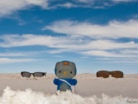 hello kitty and salar de uyuni Salar de Uyuni, Potosi Department, Bolivia, South America
