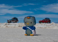 hello kitty and the jeeps Salar de Uyuni, Potosi Department, Bolivia, South America