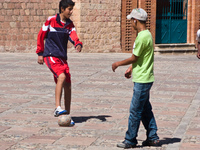 football buddies Sucre, Santa Cruz Department, Bolivia, South America