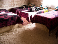 hotel--salt hotel beds Laguna Colorado, Potosi Department, Bolivia, South America
