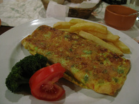 food--vegetarian omelet in la posada Sucre, Santa Cruz Department, Bolivia, South America