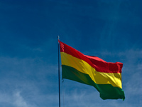bolivian flag Uyuni, Potosi, Potosi Department, Bolivia, South America