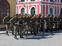bolivian soliders marching Uyuni, Potosi, Potosi Department, Bolivia, South America