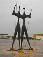 view--twin warrior statues Brasilia, Goias (GO), Brazil, South America