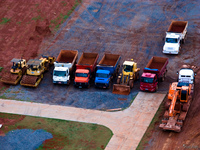 view--brasilia construction vehicles Sao Jorge, Brasilia, Goias (GO), Brazil, South America